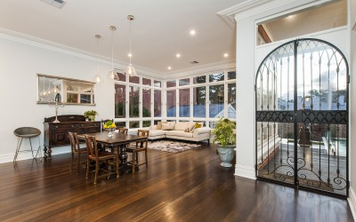 Dining Room Featuring Wrought Iron & Glass Doors
